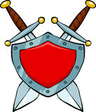 Shield and swords. Cartoon red shield and swords vector Royalty Free Stock Photo