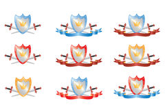 Shield and swords. Two crossed swords and shield, illustration Stock Image