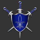 Shield with swords. Metal shield and three swords. The blue box and trim handles. Gray background. Emblem of royal lilies on shiel Stock Images
