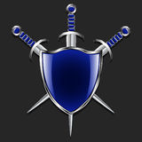Shield with swords. Metal shield and three swords. The blue box and trim handles. Gray background. Stock Photos