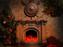 Shield and swords over the fireplace Royalty Free Stock Image