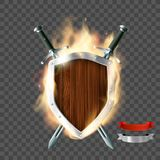 Shield with swords and ribbon. Coat of arms, a wooden shield with swords and ribbon on fire. Isolated on a transparent background. Stock illustration royalty free illustration
