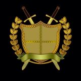 Shield with Swords, Scroll, and Olive Branch. A golden shield with two crossing swords, a scroll and an olive branch stock illustration