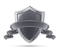 Shield symbol. Steel shield. 100% Protection concept. Vector illustration of black glossy shield Royalty Free Stock Photo