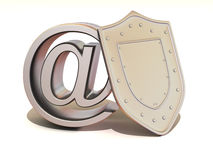 Shield with symbol for internet Royalty Free Stock Photography