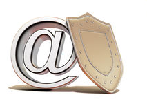 Shield with symbol for internet Stock Images