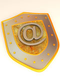 Shield with symbol for internet Stock Photo