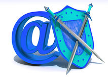 Shield with symbol for internet. Stock Images