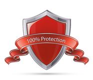 Shield symbol. 100 percent protection. Protection concept. 100 percent protection shield symbol. Vector illustration of red glossy shield stock illustration