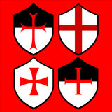 Shield of the Templar Knight. Set Stock Images