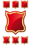 Shield Template A - Red Set. Red and Gold Shield design element collection. In the vector file: each element is positioned on a different layer. Easy to edit stock illustration