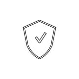 Shield thin line icon, protection outline vector logo illustrati. On, linear pictogram isolated on white Stock Image