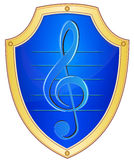 Shield with treble clef Stock Images