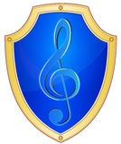 Shield with treble clef Stock Image