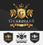 Shield and Two Guardians with cross knight crest logo template. For Protection, Victory, Fighting, Safety concept. Vector illustration Royalty Free Stock Images