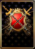 Shield and two swords from the world of fantasy. Royalty Free Stock Photo