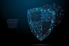 Shield vector blue. Security Shield composed of polygons. Business concept of data protection. Low poly vector illustration of a starry sky or Comos. The shield vector illustration