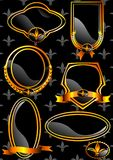 Shield 03 (Vector). Vector image of decorative panels in gold with ribbons and Royal Lily royalty free illustration