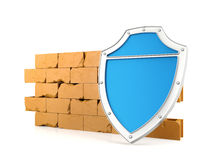 Shield and wall, 3D render. Shield and wall, firewall concept, 3D render Royalty Free Stock Photo