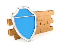 Shield and wall, 3D render. Shield and wall, firewall concept, 3D render Stock Photo