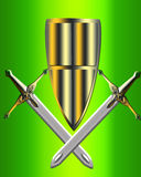The Shield and weapon. On green background Royalty Free Stock Image