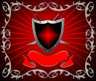 The Shield with weapon. On red background Royalty Free Stock Image