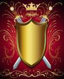 Shield and weapon. Illustration shield and weapon with pattern and crown Stock Photo