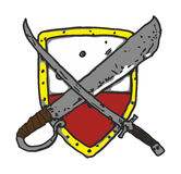 Shield With Weapon Vector. Vector Drawing of Shield with Saber and Falchion Royalty Free Stock Photography