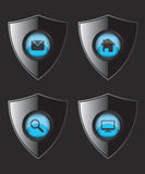 Shield web flat icons Stock Image