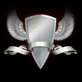 Shield with wings and banner. Royalty Free Stock Images