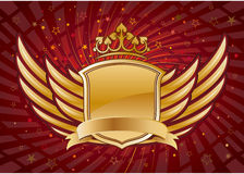 shield and wings with crown Royalty Free Stock Photo