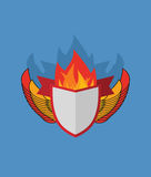 Shield with wings. flame and Ribbon. Stock Images