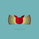 Shield with wings and ribbon. heraldic shapes Royalty Free Stock Photos
