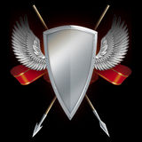 Shield with wings and spears. Stock Photography