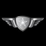 Shield with wings and star logo Royalty Free Stock Photos
