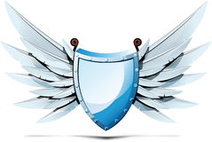 Shield with wings of swords Stock Photo