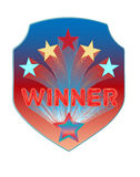 Shield for winner with stars Stock Photos