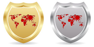 Shield with world map Royalty Free Stock Photos