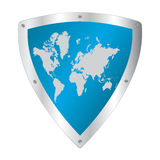 Shield with world map Stock Photography