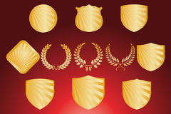 Shield and wreath design set Royalty Free Stock Image