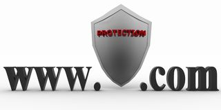 Shield between www and dot com. Conception of protecting from unknown web- pages Stock Image
