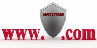 Shield between www and dot com. Conception of protecting from unknown web- pages Stock Photos