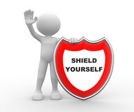 Shield yourself. 3d people - man , person with shield and text Shield yourself Royalty Free Stock Photography