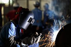 Shielded metal arc welding Stock Photos