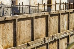 Shielded steel formwork for the construction of reinforced concrete monolithic structures. Close-up stock photo