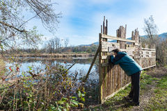 Shielding barrier for birdwatching, Brabbia marsh, province of Varese, Italy. Eco turism, wooden barrier for birdwatching along naturalistic route at the oasis royalty free stock photos