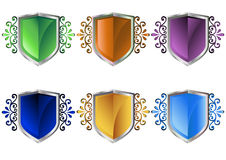 Shields. Six floral shields in white background eps Royalty Free Stock Photo