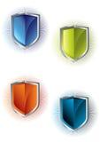 Shields. Four retro shields in white background eps Stock Image