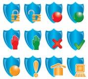 Shields. Blue shields on white, illustration Royalty Free Stock Images