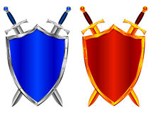 Shields. Silver and golden shields and swords Royalty Free Stock Photos